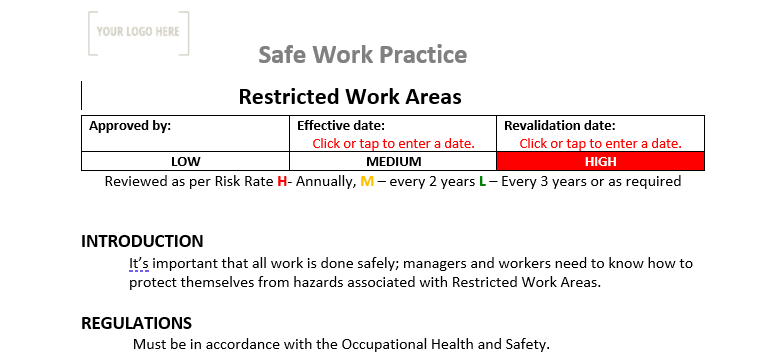Restricted Work Areas Safe Work Practice