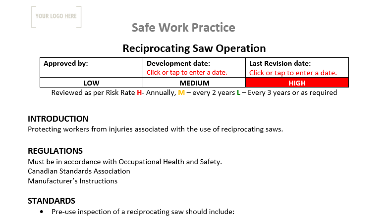 Reciprocating Saw Operation Safe Work Practice