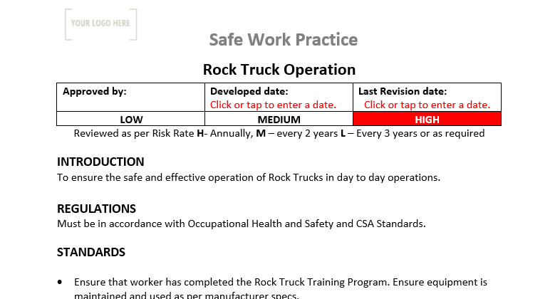 Rock Truck Operation Safe Work Practice