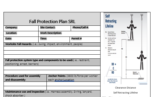 Fall Arrest Equipment Inspection With Fall Protection Plan-Self Retracting Laynard