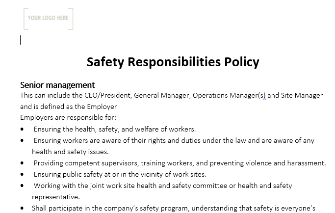 Safety Responsibility Policy