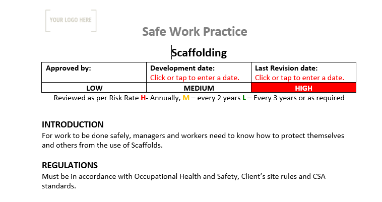 Scaffold Safe Work Practice