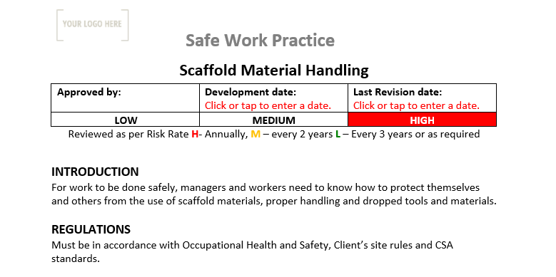 Scaffold Material Handling Safe Work Practice