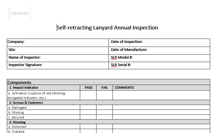Self-retracting Lanyard Annual Inspection