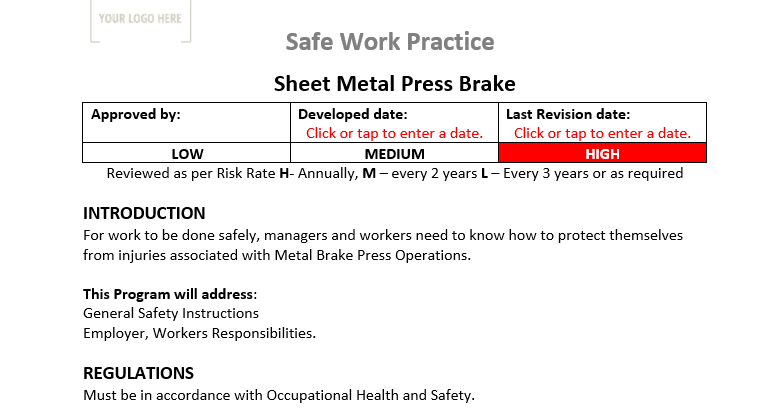 Sheet Metal Press Brake Safe Work Practice