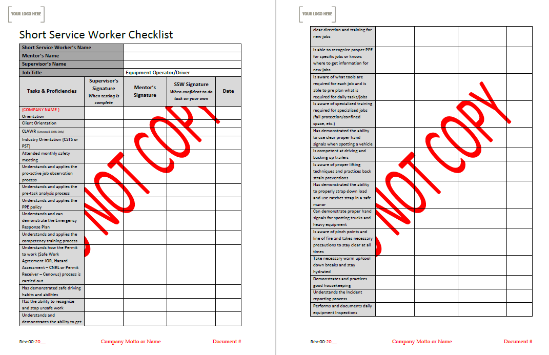 SSW Checklist – Driver/Equipment Operator