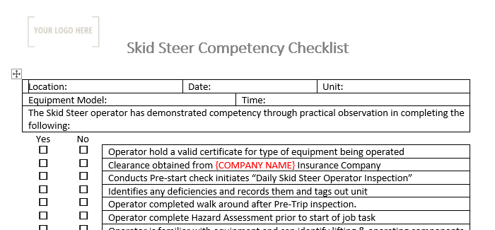 Skid Steer Competency Checklist