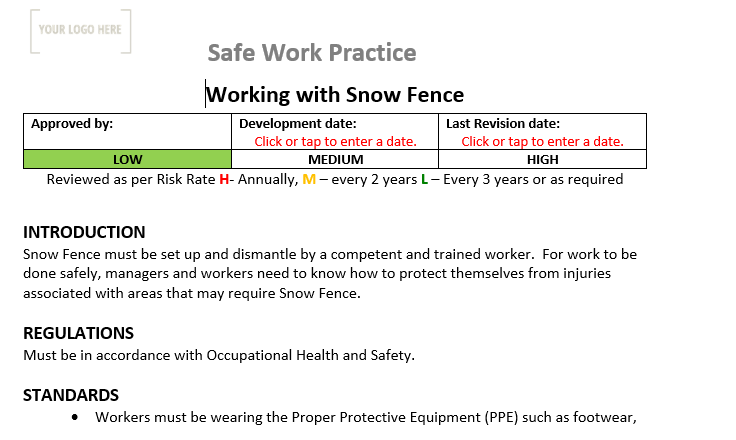 Working with Snow Fence Safe Work Practice