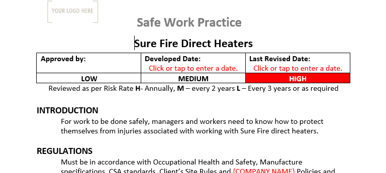 Sure Fire Direct Heaters Safe Work Practices