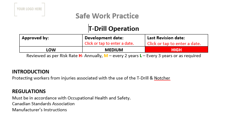 T-Drill Operation Safe Work Practice