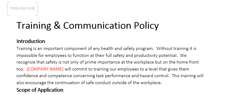 Training & Communication Policy
