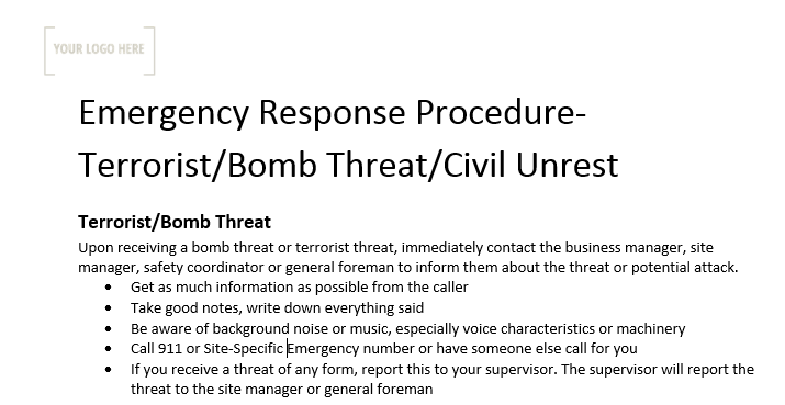 Emergency Response Procedure – Terrorist/Bomb Threat/Civil Unrest