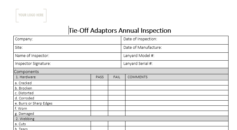 Tie-Off Adapters Annual Inspection