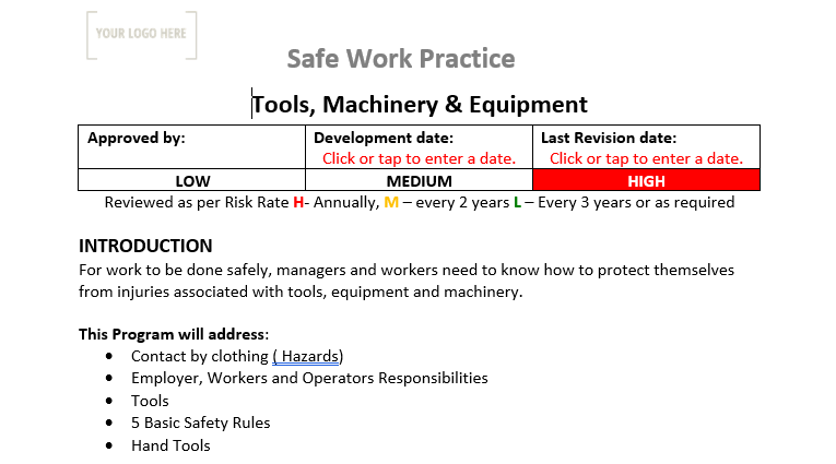 Tools, Machinery and Equipment Safe Work Practice