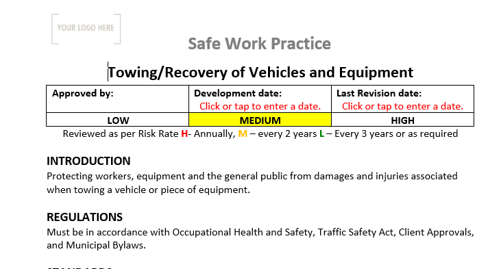 Towing & Recovery of Vehicles and Equipment Safe Work Practice
