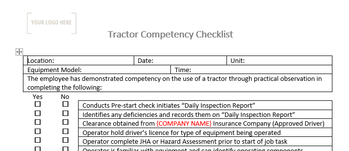 Tractor/Mower Competency Checklist