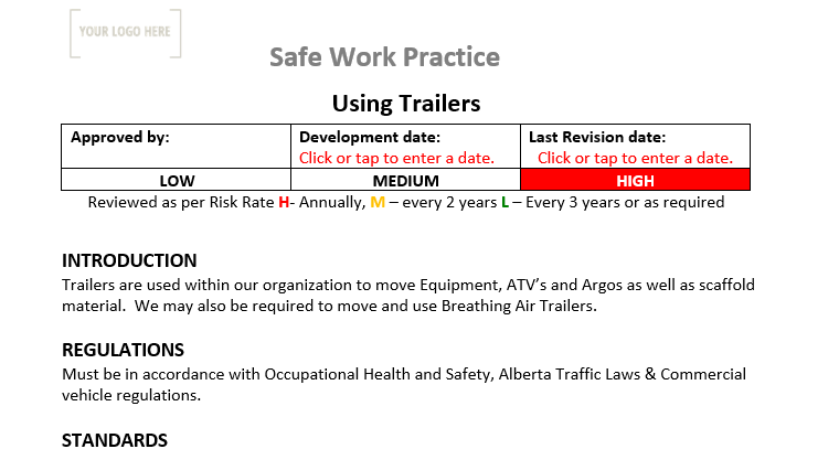 Trailers Safe Work Practice