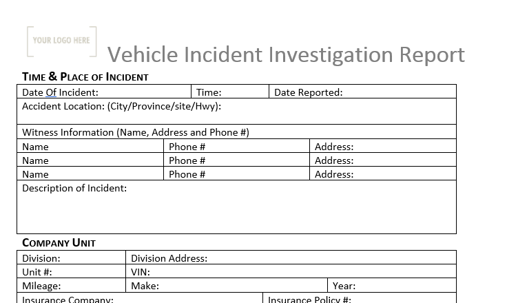 Incident Investigation Report - Vehicle