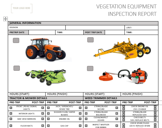 Vegetation Equipment Pre Use Inspection