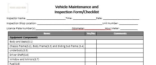 Vehicle Maintenance and Inspection Form/Checklist