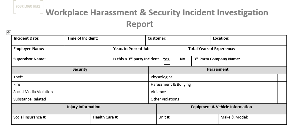 Incident Investigation Report Security/WVH/Violation