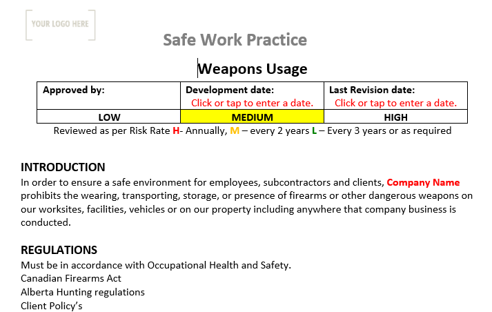 Weapons Safe Work Practice