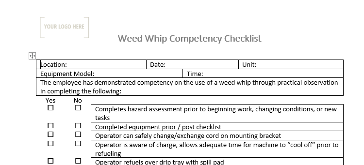 Weed Whipper Competency Checklist