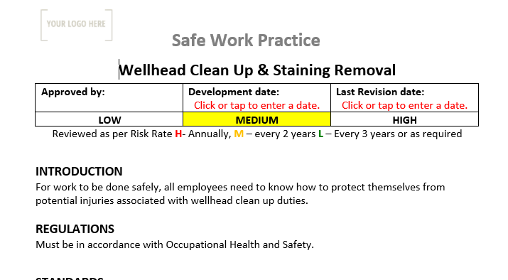 Well Head Clean ups and Stain removal Safe Work Practice