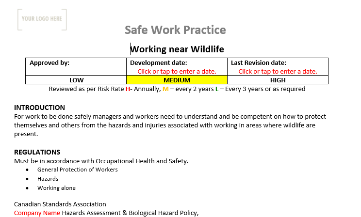 Working Near Wildlife Safe Work Practice