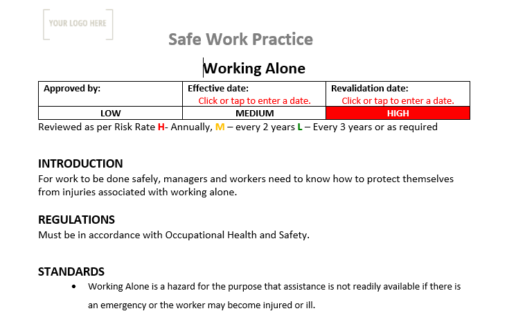 Working Alone Safe Work Practice
