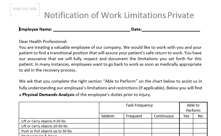 Notification of Work Limitations – Blank Template