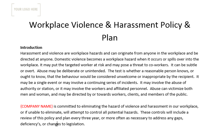 Workplace Violence & Harassment Policy