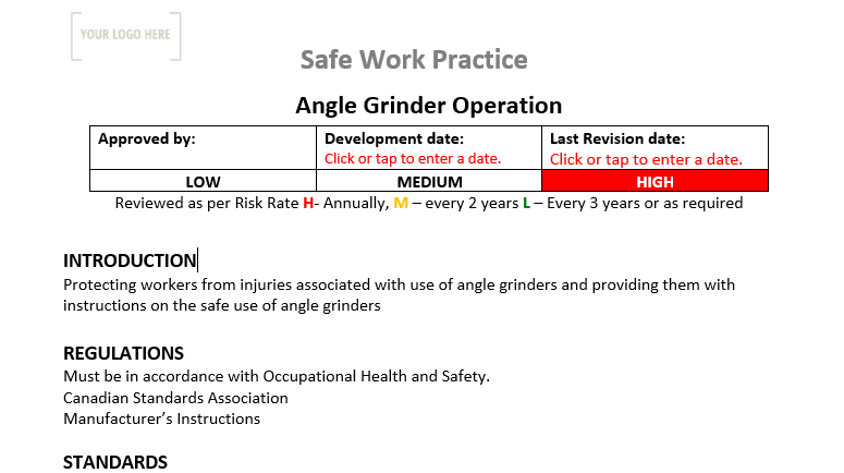 Angle Grinder Operation Safe Work Practice