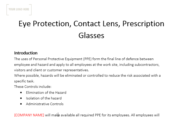 Eye Protection, Contact Lens, Prescription Glasses Policy