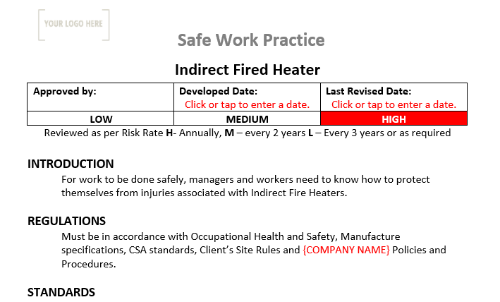 Indirect Fired Heater Safe Work Practice