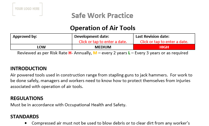 Operation of Air Tools Safe Work Practice