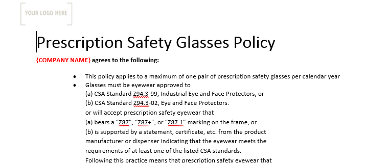 Prescription Safety Glasses Policy & Form