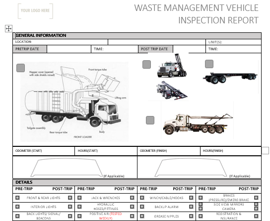 Waste Management Truck Pre Use Inspection