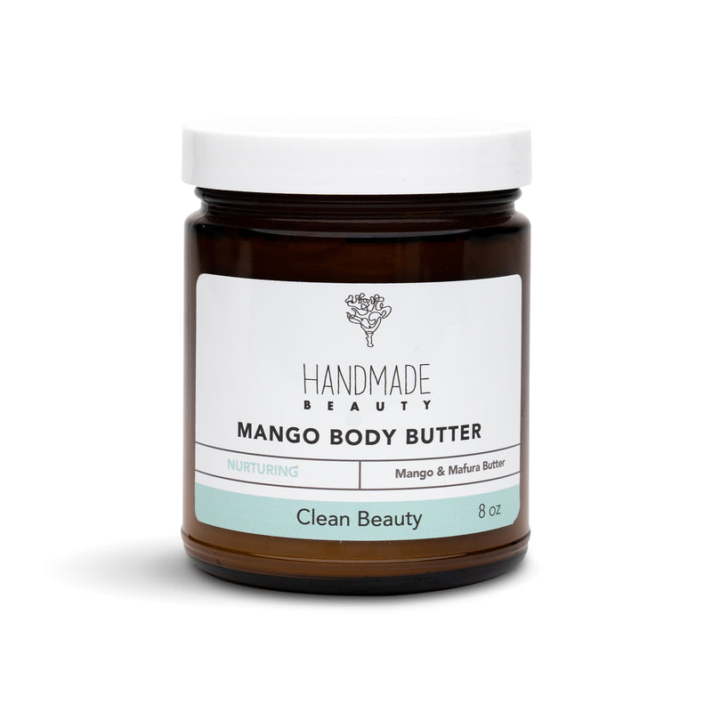 Mango Body Butter 8 oz - Handmade Beauty Body With Our Mango Body Butter Forget what you know about body butters. Our luxurious and ultra-hydrating Body Butter replenishes, softens and revitalizes your skin without the heaviness and greasiness. Perfect for all skin types and will keep your skin hydrated throughout the day. Nourishing Directions: Massage a small amount into your skin. The butter will absorb into your skin. INCI: Butyrospermum Parkii (Shea Butter) Fruit, Trichilia emetica (Mafura Butter), Pru