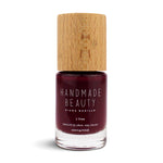 Nail Polish Non Toxic Color Beet - Handmade Beauty Nail Polish Nail Polish Non Toxic Color Beet The intense color of the BEET, that characteristic shade of red mixed with purple, sophisticated, magical and magnetic. Size: 11 ml Formulation Contains ingredients specifically designed to strengthen nail's resistance like organic silicon. Easy Apply Fast and precise application due to its brush. An ergonomic cap for easy use. How to use: to obtain an optimal result by extending two layers of product first at