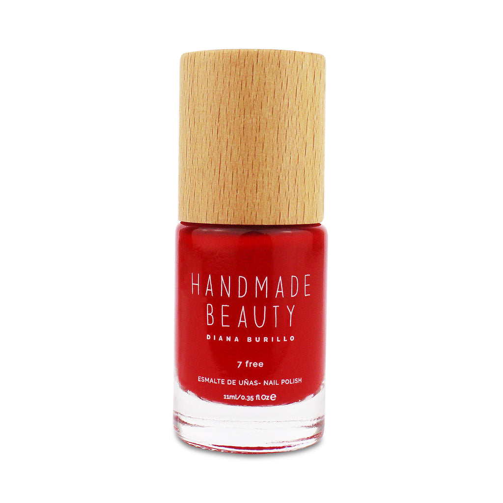 Nail Polish Non Toxic Color Cherry - Handmade Beauty Nail Polish Nail Polish Non Toxic Color Cherry This intense color that gets the cherry on any look and occasion. Size: 11 ml Formulation The perfect dose of pigments in the formulation guarantees a covering effect. Contains ingredients specifically designed to strengthen nail's resistance like organic silicon. Easy Apply Fast and precise application due to its brush.  An ergonomic cap for easy use. How to use: to obtain an optimal result by extending t