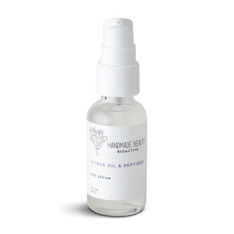 Citrus Oil & Peptides Eye Serum 1 oz (30 ML) - Handmade Beauty Face Citrus Oil & Peptides Eye Serum that targets fine lines around the eyes KEY BENEFITS Minimizes the appearance of fine lines & wrinkles Improves circulation to visibly reduce dark circles & puffiness Rehydrates eye area to help even skin tone Turn on youth by minimizing the appearance of wrinkles, dark circles, and puffiness around the eyes. Our Eye Corrector Serum is designed to brighten the skin by fighting off fatigue, aging,