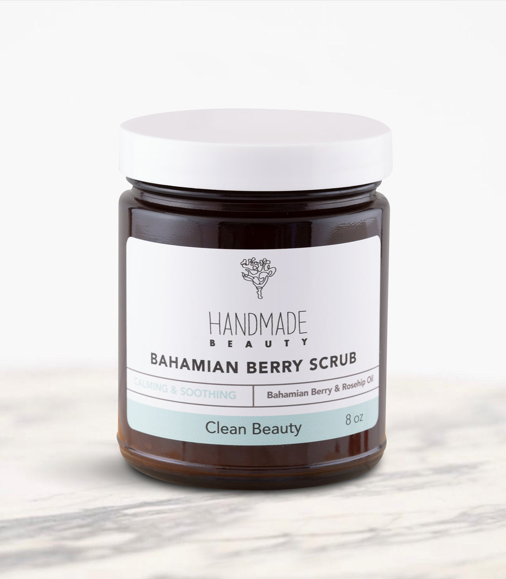 Bahamian Berry Scrub 8 oz - Handmade Beauty Body Why should you exfoliate? There are so many reasons like improving your skin texture, removing dead skin cells so that moisturizers can actually penetrate your skin, minimize the appearance of pores, and so on…. Bahamian Berry Scrub Our exfoliating body polishes are infused with organic salts, sugars and oils to gently exfoliate dead skin cells leaving your skin refreshed, glowing and moisturized. Calming & Smoothing Directions: Apply scrub to clean wet