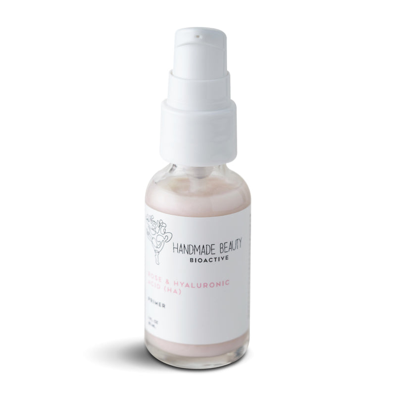Rose & Hyaluronic Acid (HA) Primer 1 OZ (30 ML) - Handmade Beauty Face Rose & Hyaluronic Acid (HA) Primer    KEY BENEFITS Preps skin with vitamins for longer-lasting makeup Deeply hydrates to visibly tighten, brighten & plump Minimizes the appearance of pores, fine lines & wrinkles This unique vitamin-rich essential formula smooths, hydrates, and revitalizes while preparing skin for long-lasting makeup wear. Energized with our exclusive fresh rose complex, this silky serum naturally hydrates a