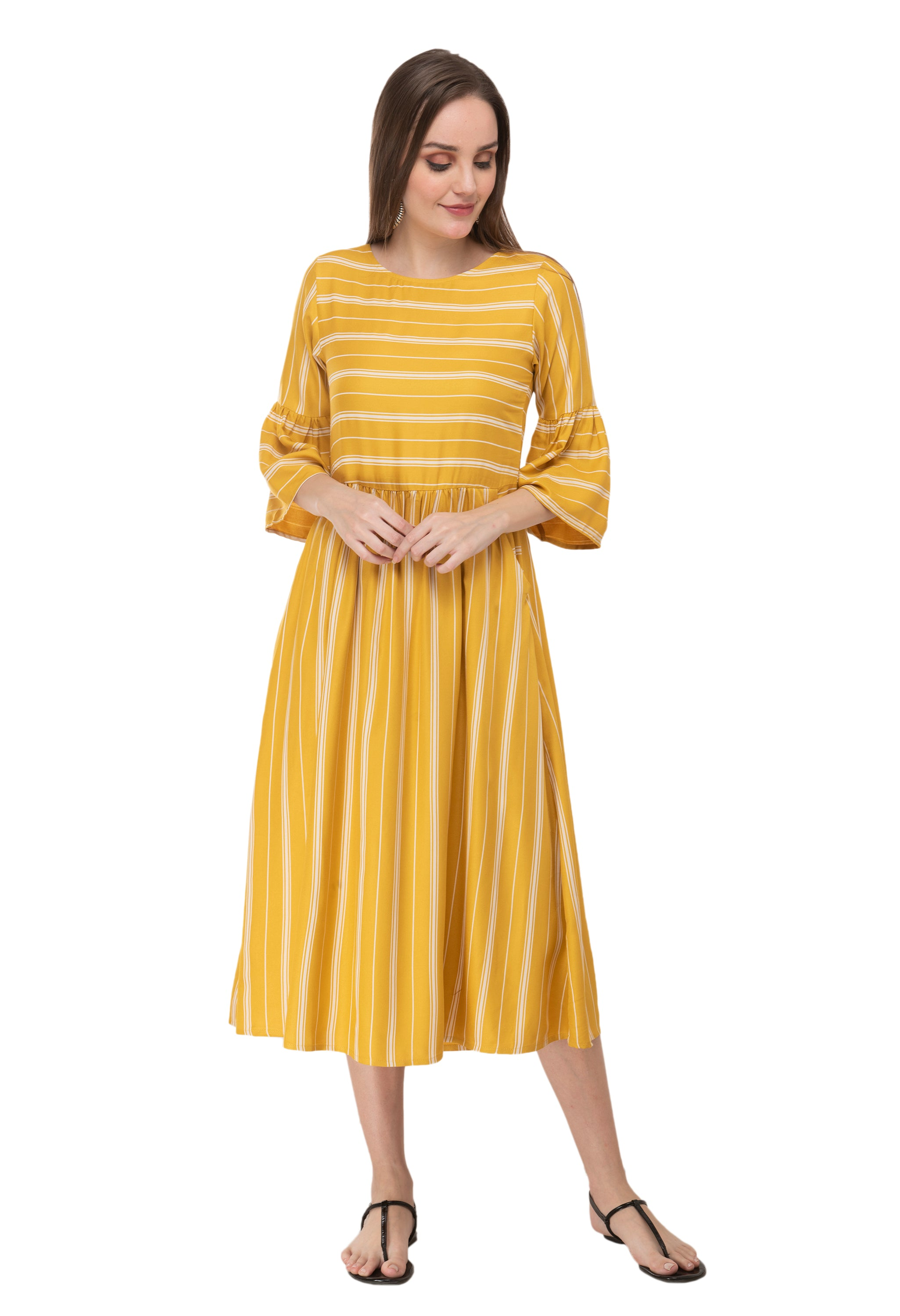 Arainna Yellow and White Striped Maxi Dress/One Piece Dress for Girls and Women