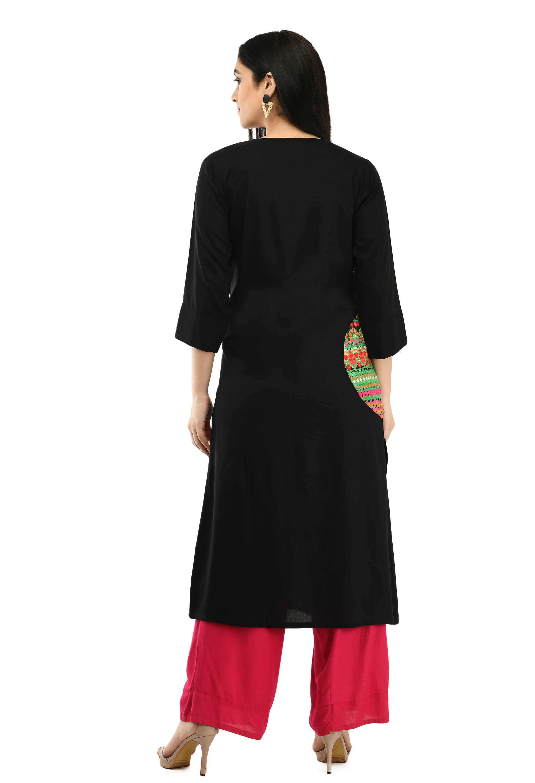 Arainna Vintage Embroidered Spited Long Sleeve O-neck Women Kurti