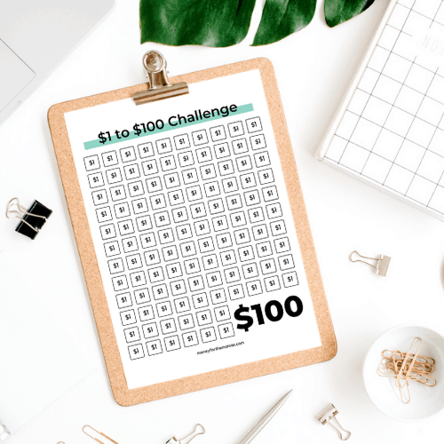 Save $1 to $100 money challenge