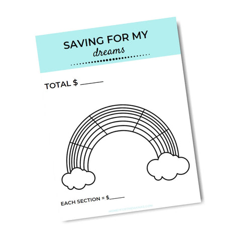 printable savings tracker over the rainbow