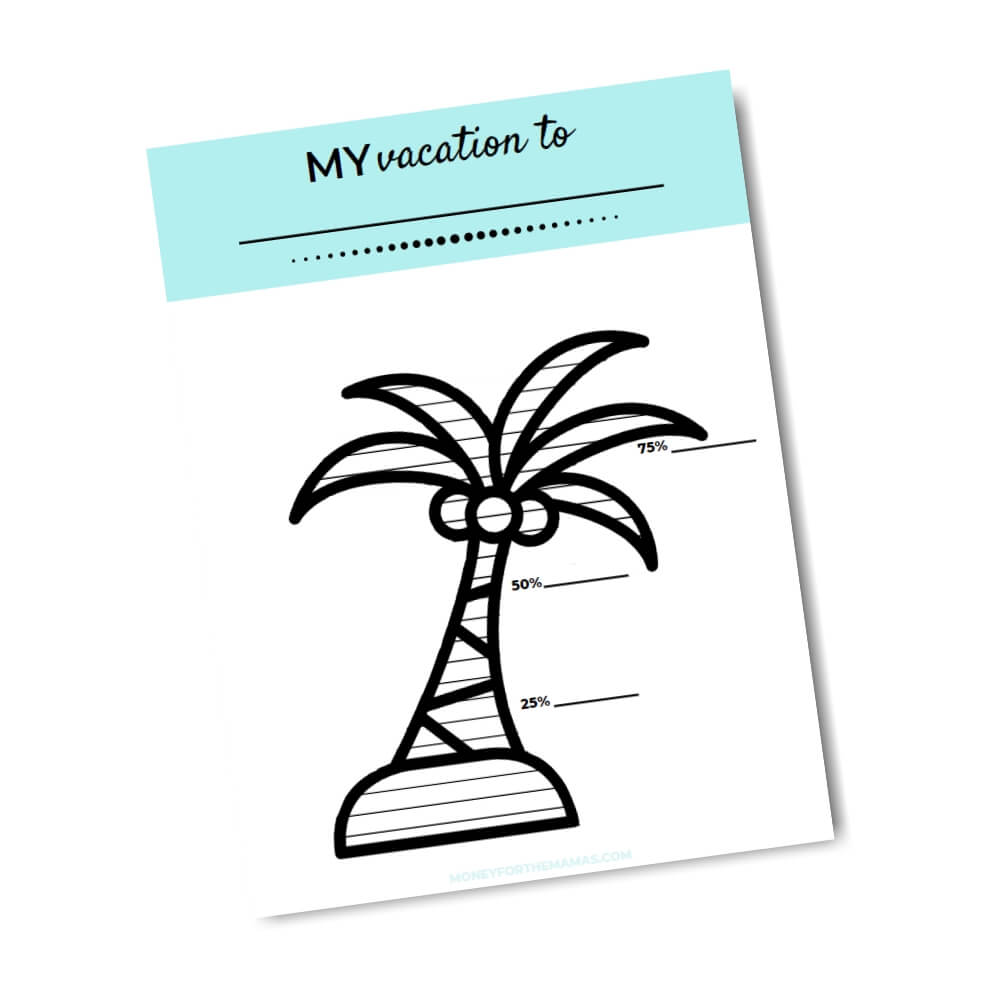 printable savings tracker palm tree vacation