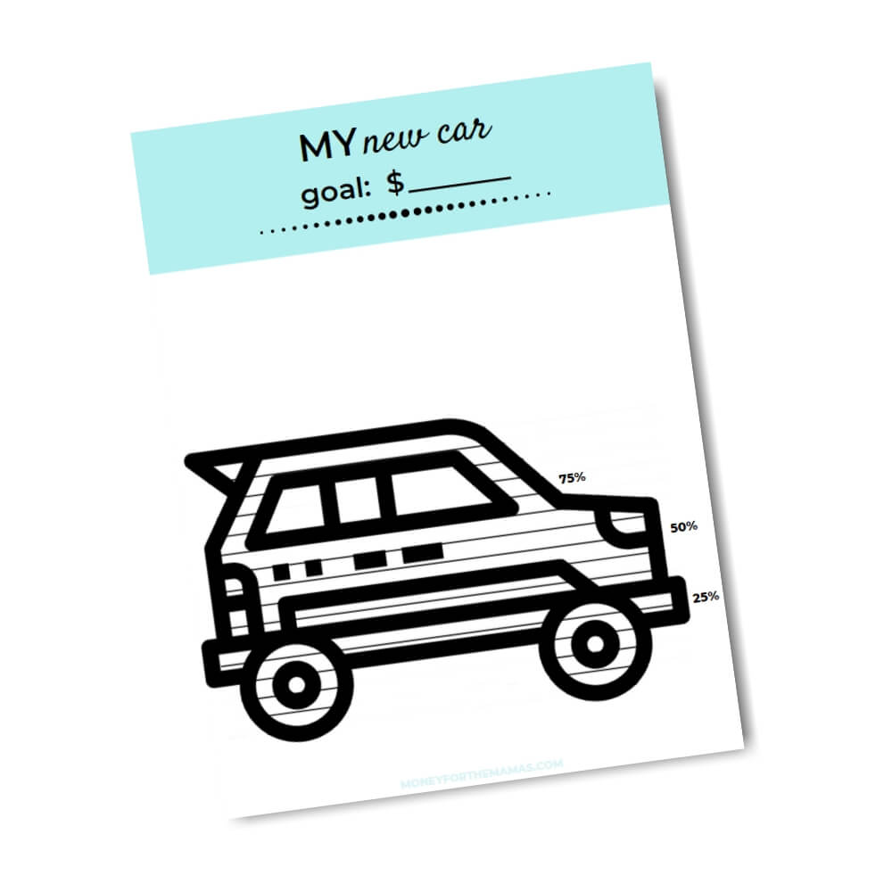 printable savings tracker new car